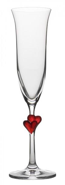Sektkelch L´Amour mit roten Herzen