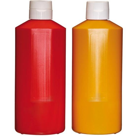 Quetschflasche weiß, rot, gelb